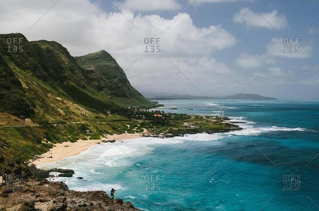 Waves breaking on shore near Makapuu Lighthouse, Oahu, Hawaii, USA