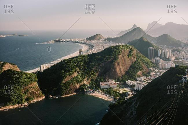 Aerial view of Copacabana and Leme beaches, Rio de Janeiro, Brazil