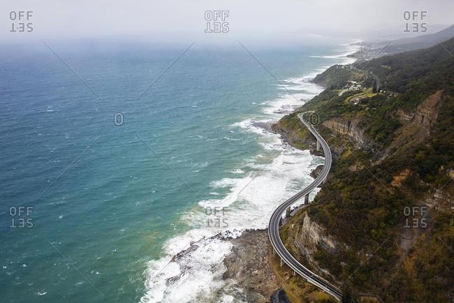 Aerial view of Sea cliff Bridge, Wollongong, Illawarra, New South Wales, Australia