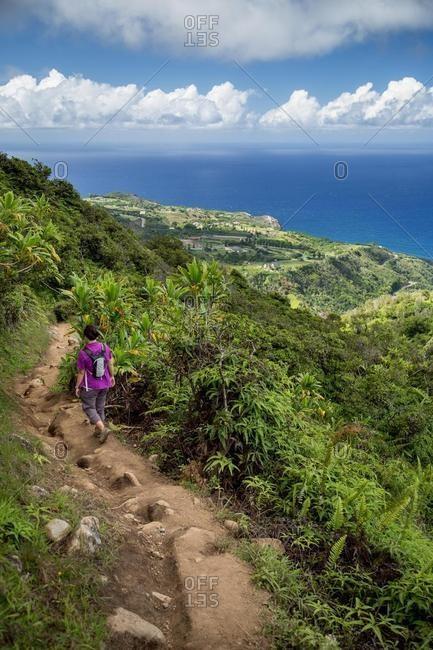 Woman hiking, Waihee, Maui, Hawaii, USA