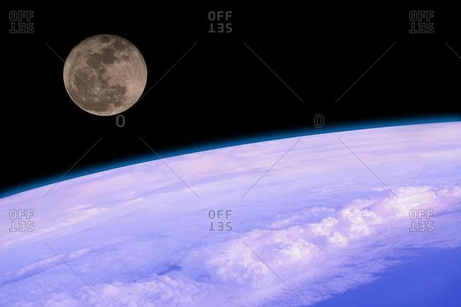 Supermoon over the earth's surface