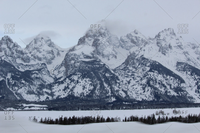 Scenic view of snowcapped mountains at Grand Teton National Park