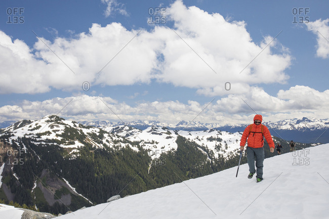 Mountaineer crosses a glacier near Squamish, British Columbia.