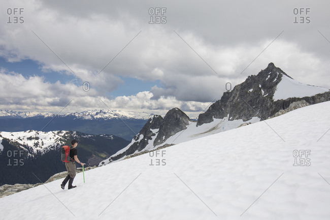 Mountaineer on approach to Cypress Peak, British Columbia.