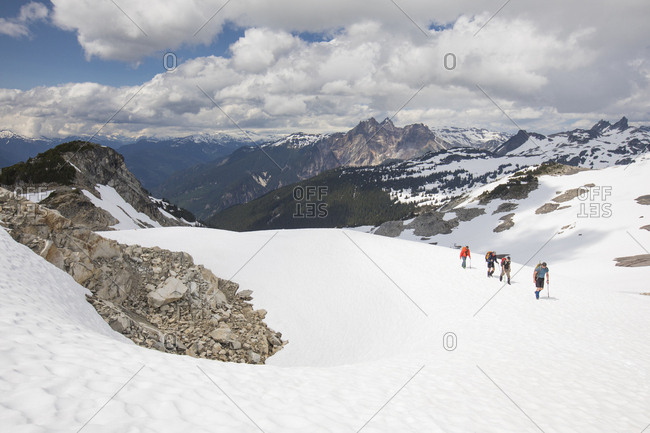 Mountaineers on approach to Cypress Peak, British Columbia.