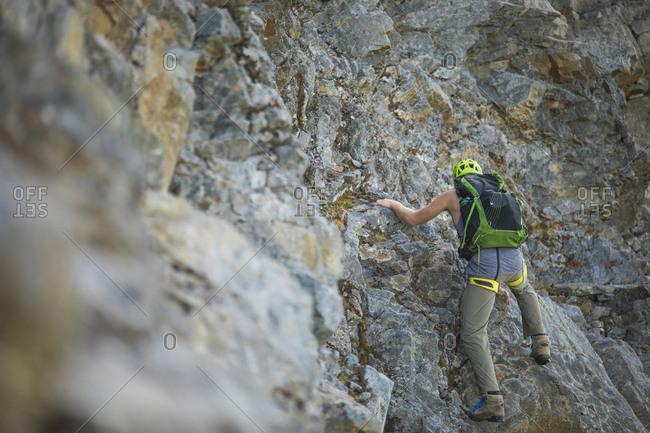 Climber ascending Douglas Peak, British Columbia.