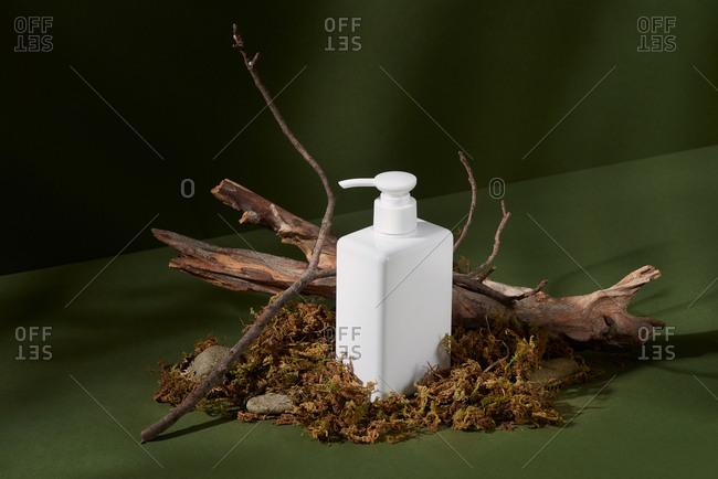 Liquid container for gel, lotion, cream, shampoo, bath foam. Cosmetic plastic bottle