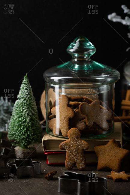 Gingerbread cookies preserved in a glass jar