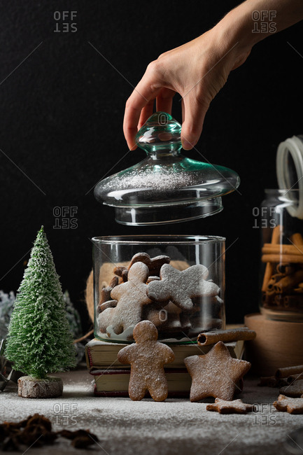 Gingerbread cookies with powdered sugar preserved in a glass jar