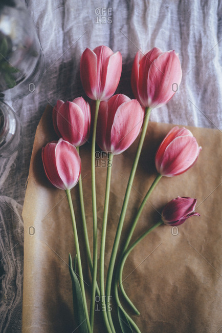 High angle view of tulips with brown paper on table