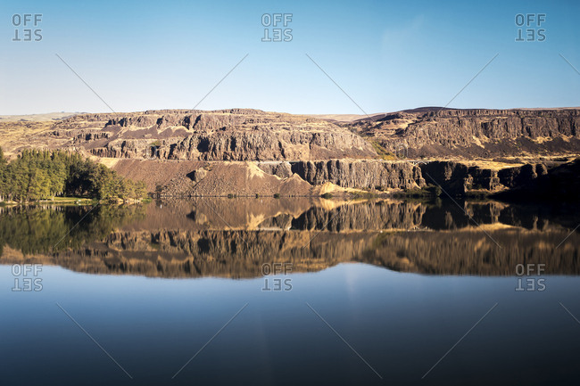 Reflections from a train along the Columbia River Gorge in Oregon.