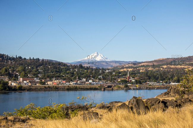 Mount Hood peak from a train along the Columbia River Gorge in Oregon.