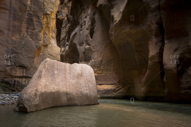A giant rock in water on The Narrows hike in Zion National Park.