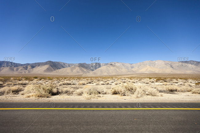 The eastern sierra mountain range from the highway in Nevada.