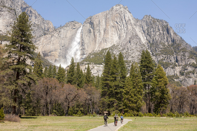 A family bikes along a trail in Yosemite Valley, CA