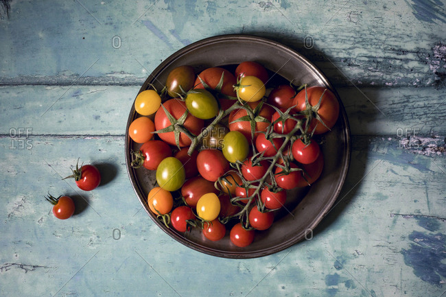 Overhead view of fresh tomatoes in pewter plate on old painted wooden table