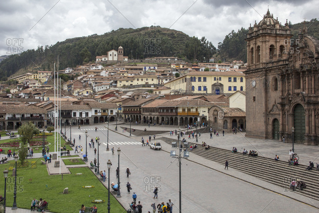 Peru, Cusco - October 21, 2016: High angle view of cathedral by houses in city