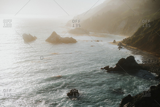 High angle view of sea at McWay Falls during foggy weather