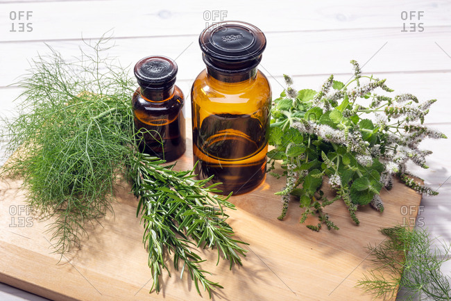 Herbal essential oil. Peppermint, rosemary and fennel oil for aromatherapy, wellness, skin care, herbal remedies