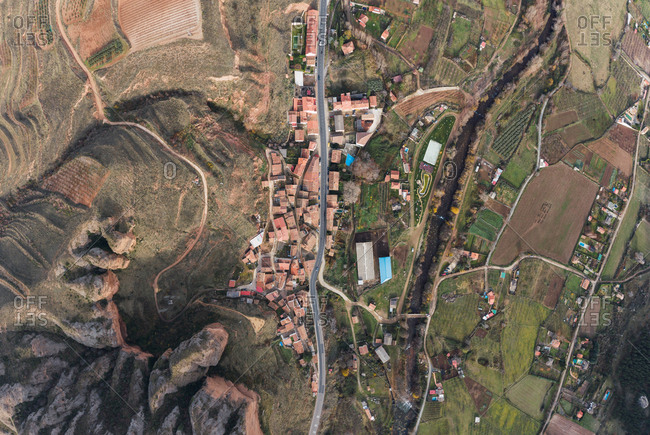 Drone view of rural town and road, in the village of Islallana, La Rioja, Spain