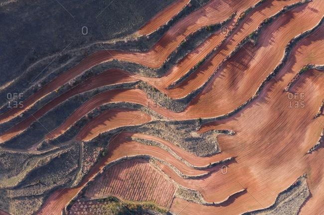 Aerial view of terraces landscape during the dry season in Islallana, La rioja, Spain
