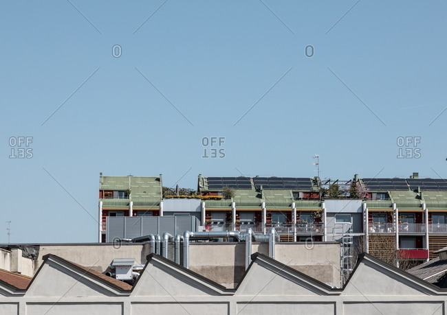 March 25, 2019: Roof of the Fondazione Prada institution in Milan, Italy