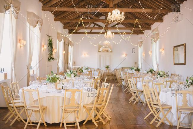 Elegant wedding reception with lights