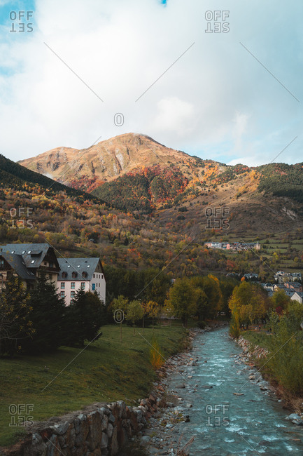 Little village by the river in the Pyrenees, Vielha