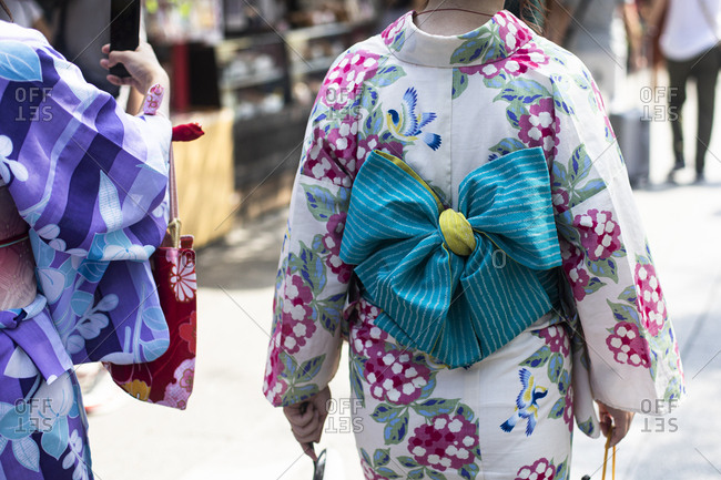 Detail of traditional Japanese clothing in Tokyo- Japan