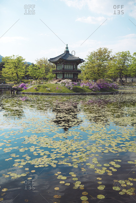 View of pond and pagoda- Gyeongbokgung- Seoul- South Korea