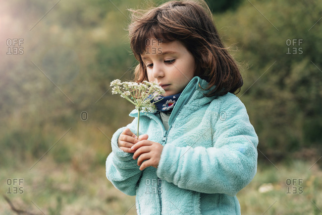 Portrait of little girl with wildflower in autumn