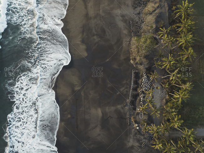 Aerial view of concrete pipes at the beach- Kedungu- Bali- Indonesia