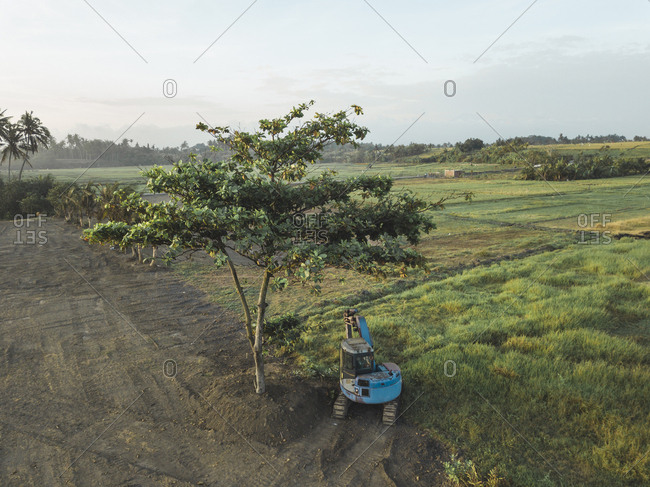 Aerial view of an excavator at a tree- Kedungu- Bali- Indonesia