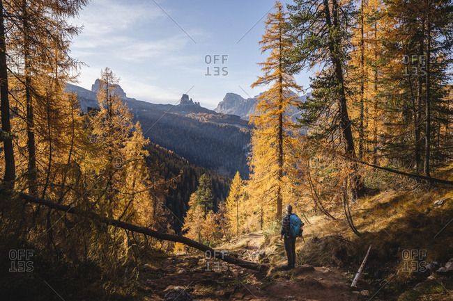 Hiker enjoying Dolomites in autumn- Veneto- Italy