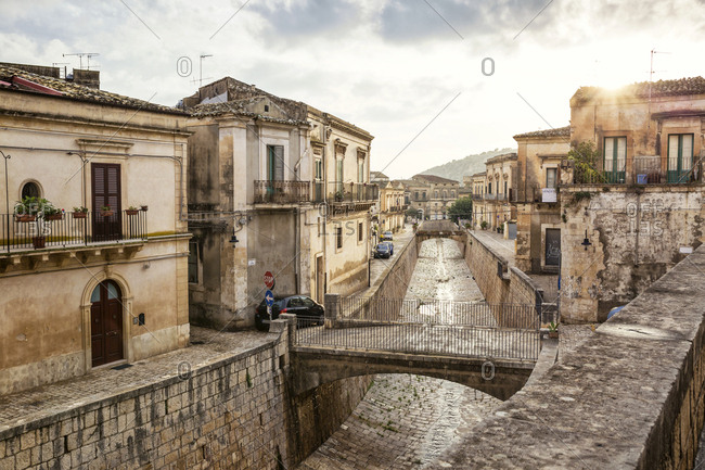 October 4, 2017: Old town- Scicli- Province of Ragusa- Sicily