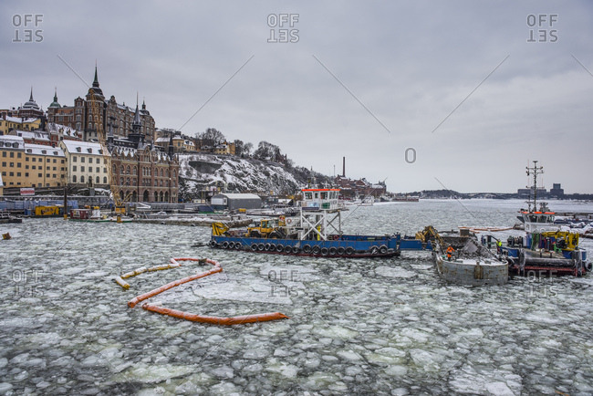 January 26, 2013: Frozen waterway in the old town of Stockholm- Sweden