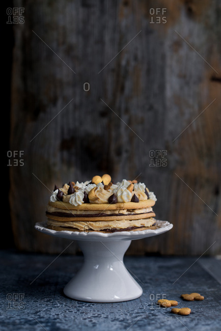 Layered shortbread cake with chocolate  and hazelnut cream