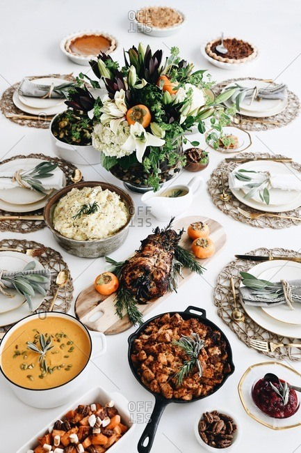 A Thanksgiving spread on a white table