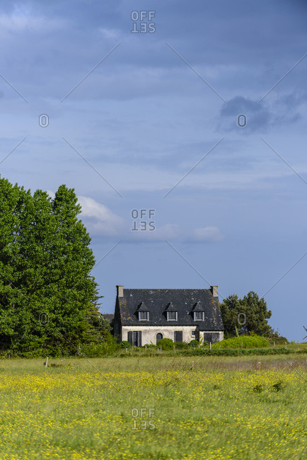 Old house in the countryside on Arz Island in the Morbihan gulf, France