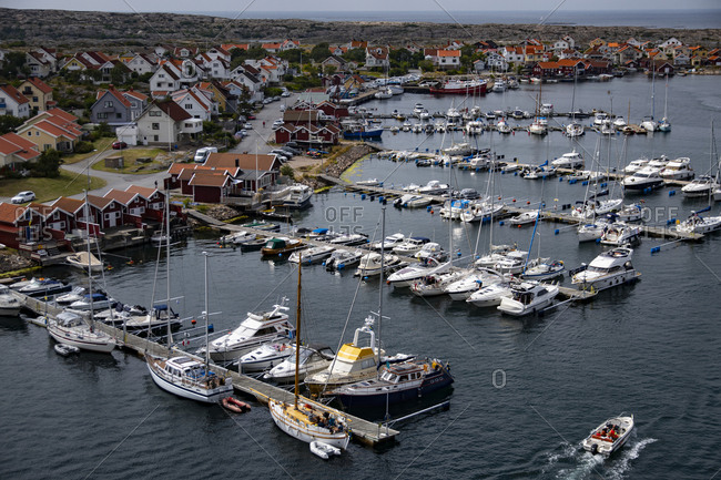 Gothenburg, Sweden - July 13, 2019: View of marina