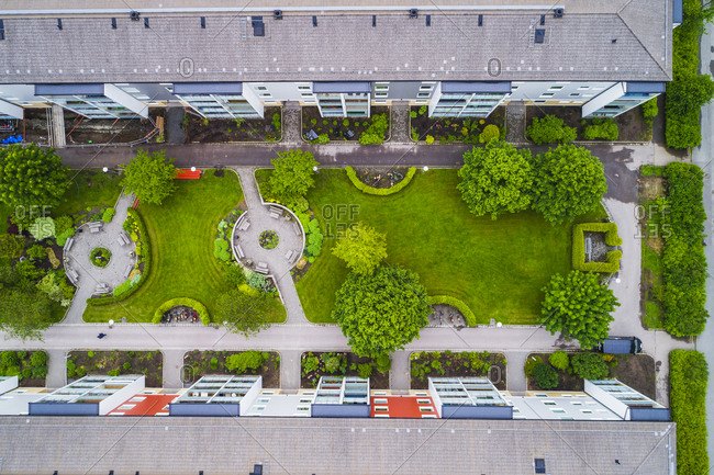 Aerial view of blocks of flats
