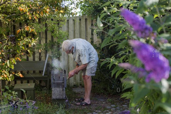 Senior man in garden
