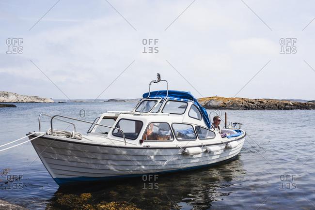 Boat moored at sea