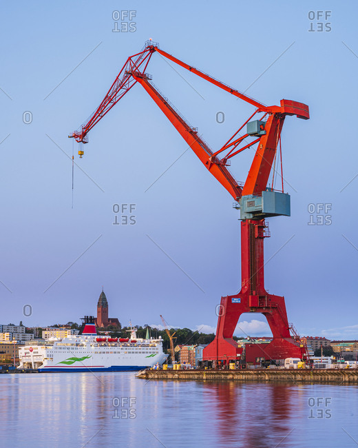Gothenburg, Sweden - November 12, 2019: View of crane at shipyard