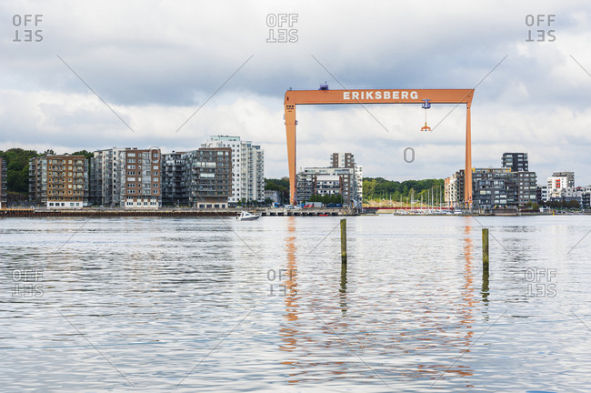 Gothenburg, Sweden - September 10, 2019: View of gantry crane and buildings in Eriksberg, Gothenburg, Sweden