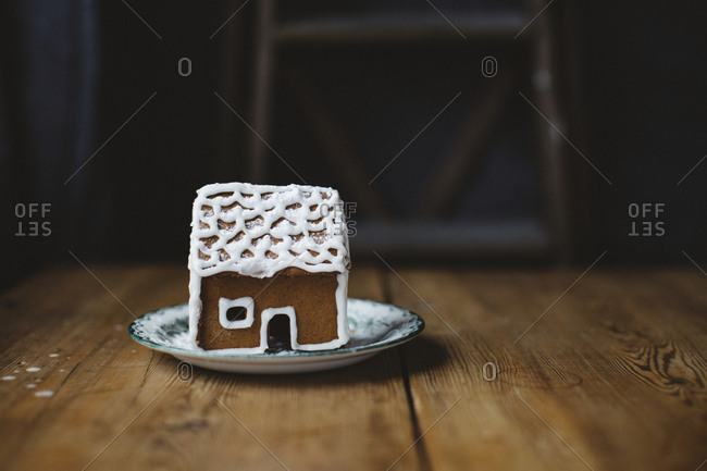 Gingerbread house on table