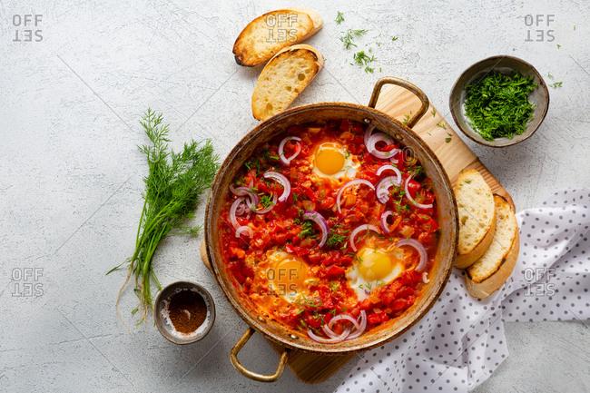 Fresh breakfast eggs with vegetables