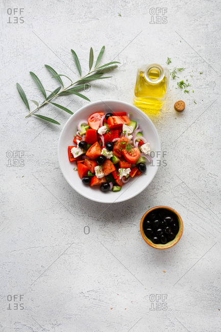 Fresh salad with feta top view