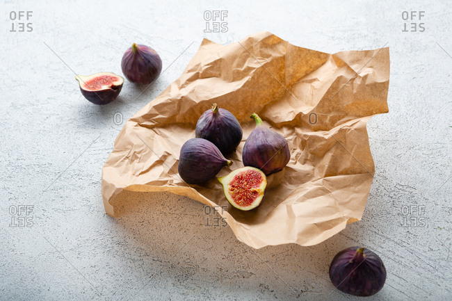 Figs on brown wrinkled paper