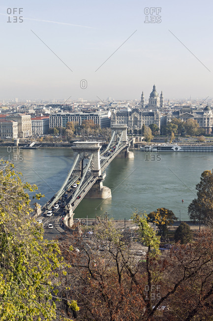 Budapest, Hungary - November 11, 2019: View of Szechenyi Chain Bridge in Budapest